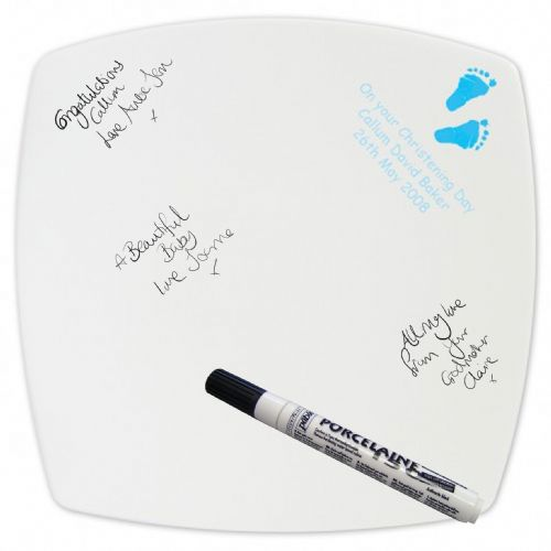 Personalised Blue Footprint Message Plate